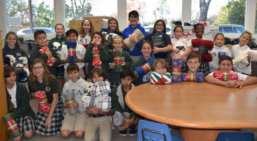 "St. Therese Academy ""BLANKETS"" the homeless with LOVE"